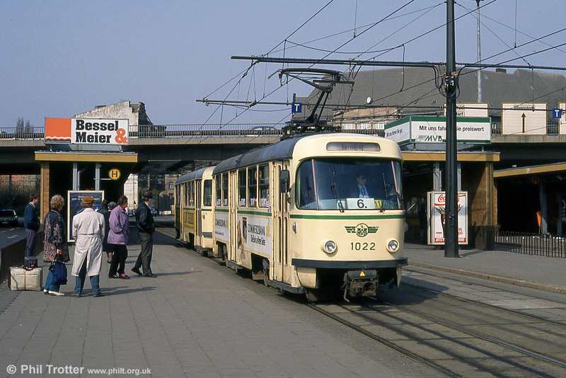 Magdeburg T4D 1022 at Damaschkeplatz on 12th April 1993.