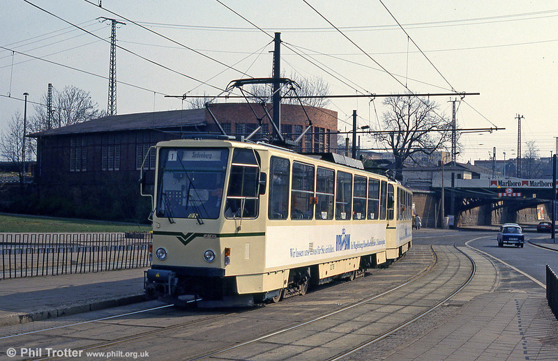 Magdeburg T6A2 1278 at Damaschkeplatz on 12th April 1993.