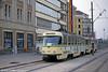 The first of Magdeburg's Tatra T4Ds, 1001 of 1968 at Universitätsplatz on 12th April 1993.