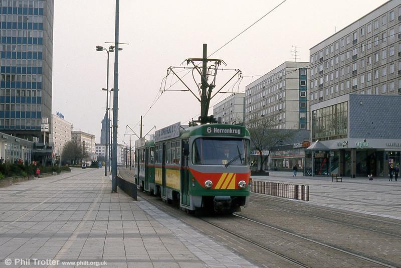 A Tatra T4D at Alter Markt on 12th April 1993.