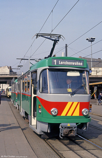 An unidentified Magdeburg T4D at Damaschkeplatz on 12th April 1993.