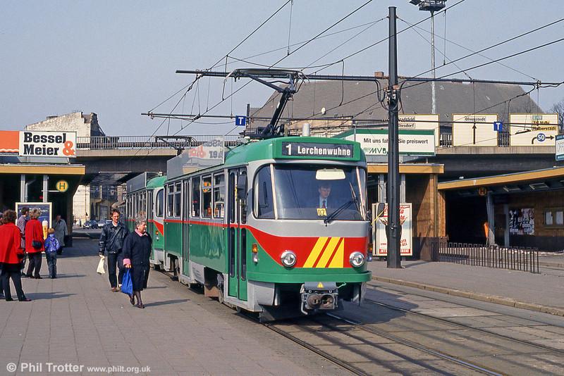 Magdeburg T4D 1213 at Damaschkeplatz on 12th April 1993.