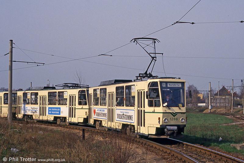 Magdeburg T6A2 1286 at Olvenstedt on 12th April 1993.