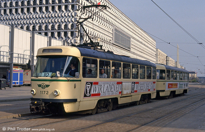 Tatra T4D 1172 at Alter Markt on 12th April 1993.