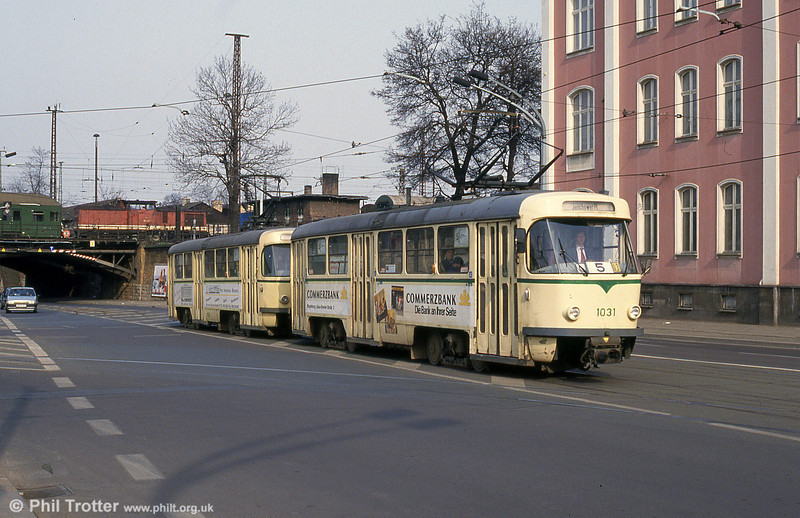 A representative of Magdeburg's large fleet of Tatra T4Ds, this is 1031 dating from 1969 near the Hauptbahnhof on 12th April, 1993.