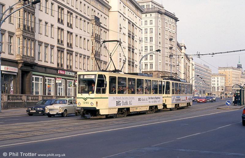 T6A2 1280 near the Hauptbahnhof on 12th April, 1993.