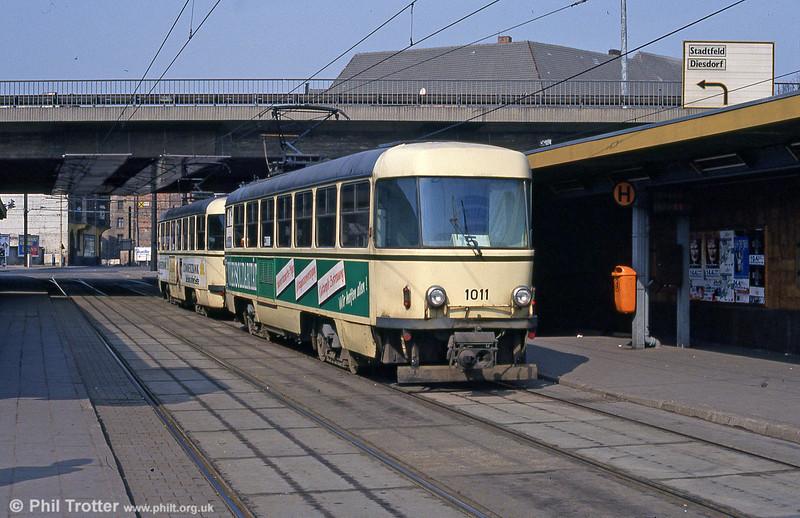 Magdeburg bi-directional T4D 1011 at Damaschkeplatz on 12th April 1993.