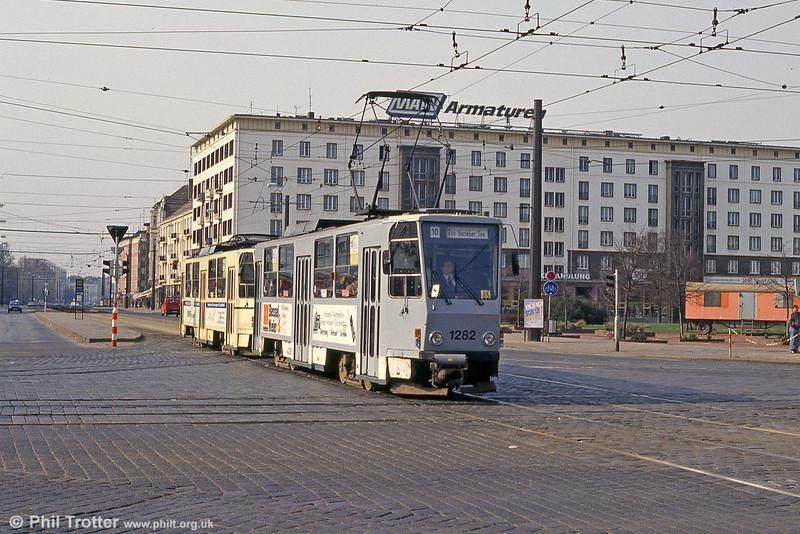 Magdeburg T6A2 1282 at Ernst Reuter Allee on 12th April 1993.