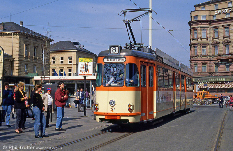 Mainz Westwaggon car 227 of 1961 at the Hauptbahnhof on 2nd April 1991.