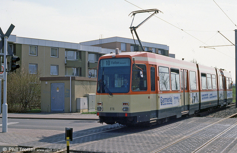 Mainz Duewag car 275 of 1984 at Donsheimer Weg on 2nd April 1991.