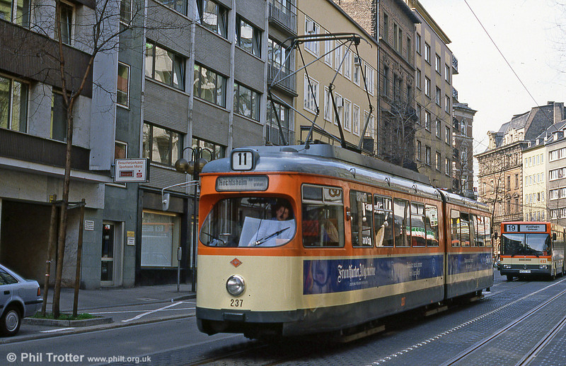 Mainz Duewag car 237 of 1960 at Schillerstrasse on 2nd April 1991.