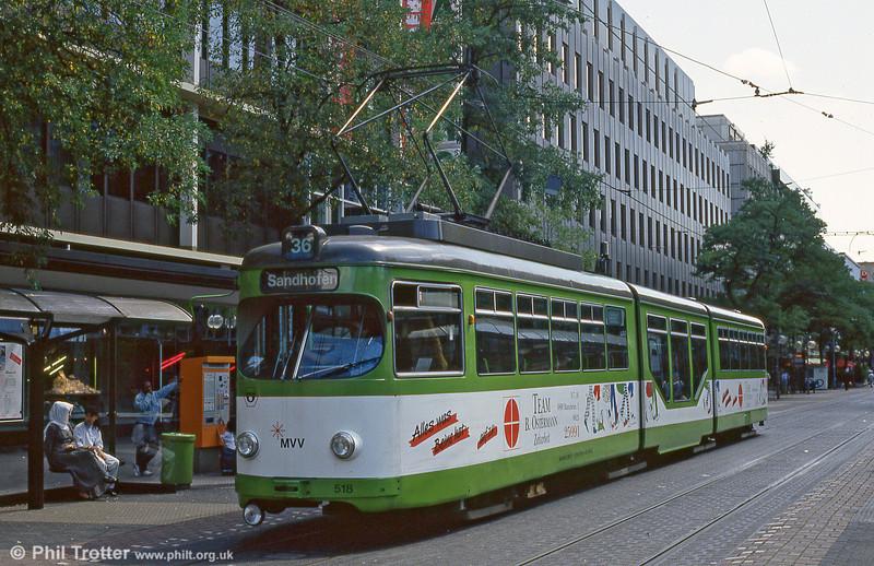 Mannheim 518 at Paradeplatz on 1st August 1993.