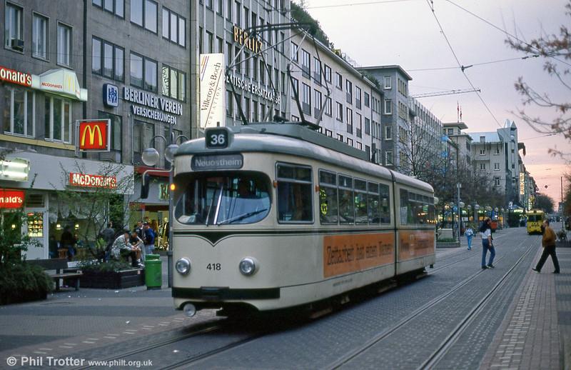 Mannheim 418 at Heidelberger Strasse on 3rd April 1991.