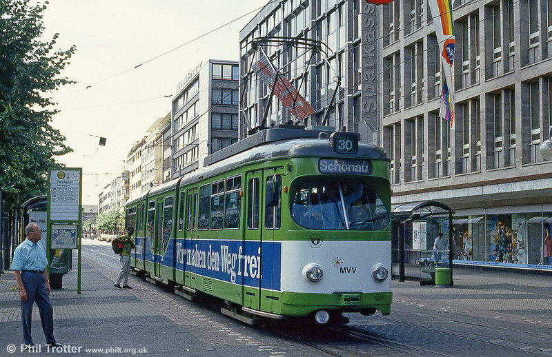 Mannheim 507 at Paradeplatz on 1st August 1993.