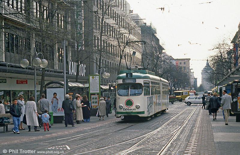 Mannheim 363 at Paradeplatz on 4th April 1991.