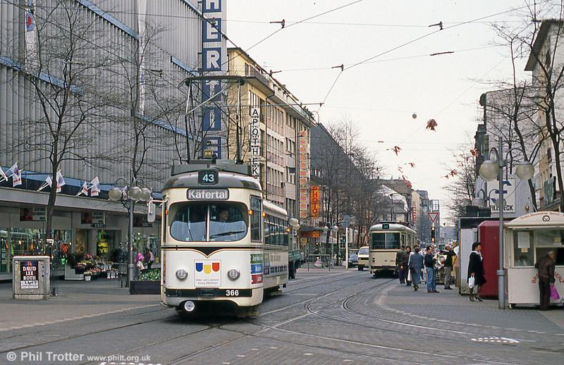 Mannheim 366 at Paradeplatz on 4th April 1991.