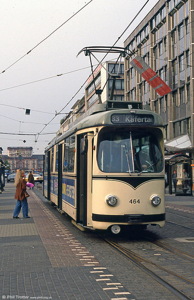 Mannheim 464 at Paradeplatz on 4th April 1991.