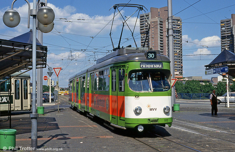 Mannheim 514 at Kurpfalzstrasse on 1st August 1993.