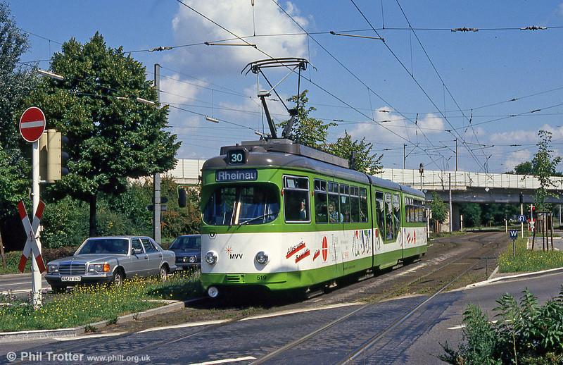 Mannheim 519 at Kurpfalzbrucke on 1st August 1993.