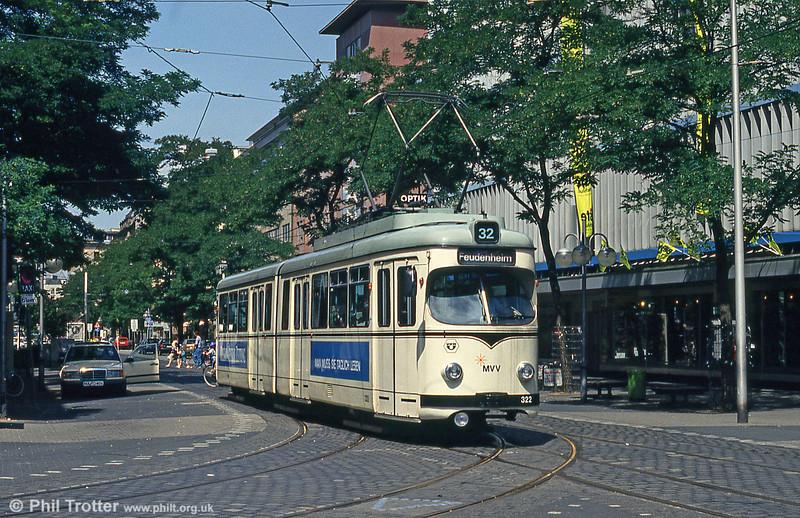 Mannheim 322 at Paradeplatz on 1st August 1993.