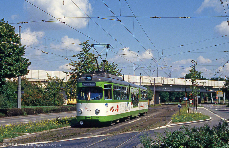 Mannheim 517 at Kurpfalzbrucke on 1st August 1993.