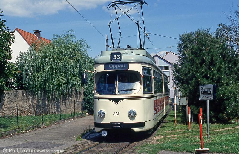 Mannheim 331 at Kafertal on 1st August 1993.