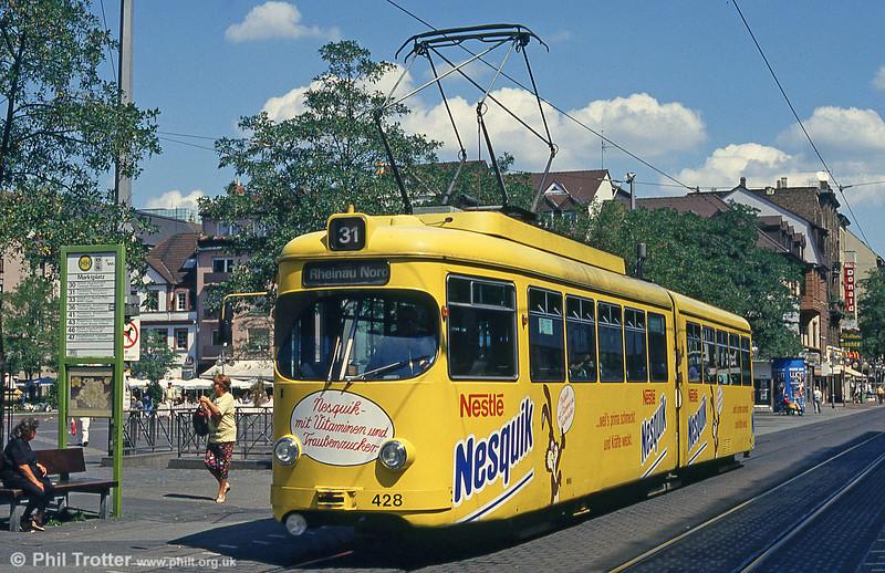 Mannheim 428 at Kurpfalzstrasse on 1st August 1993.