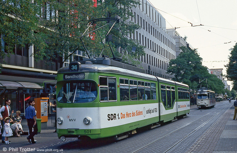 Mannheim 501 at Paradeplatz on 1st August 1993.