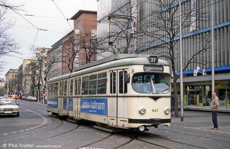 Mannheim 447 at Paradeplatz on 4th April 1991.