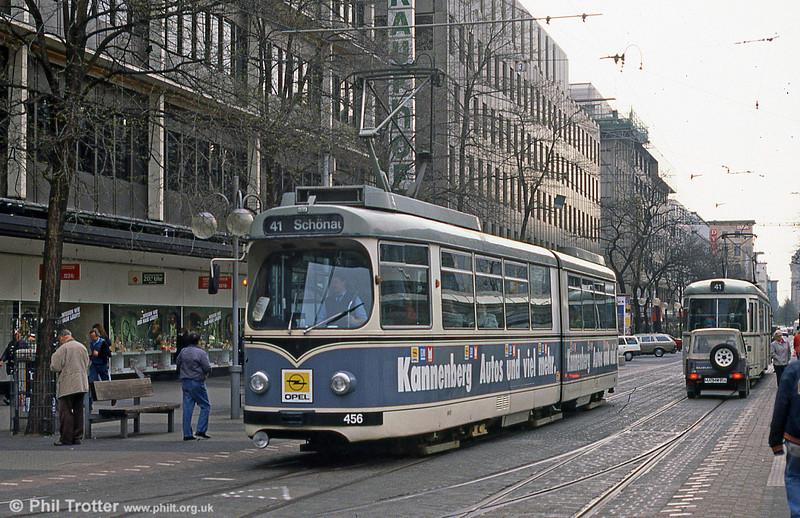 Mannheim 456 at Paradeplatz on 4th April 1991.