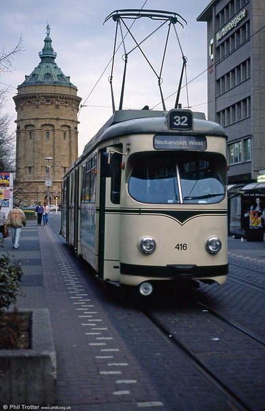 Mannheim 416 at Heidelberger Strasse on 3rd April 1991. The Wasserturm (water tower) is a civic symbol of Mannheim.