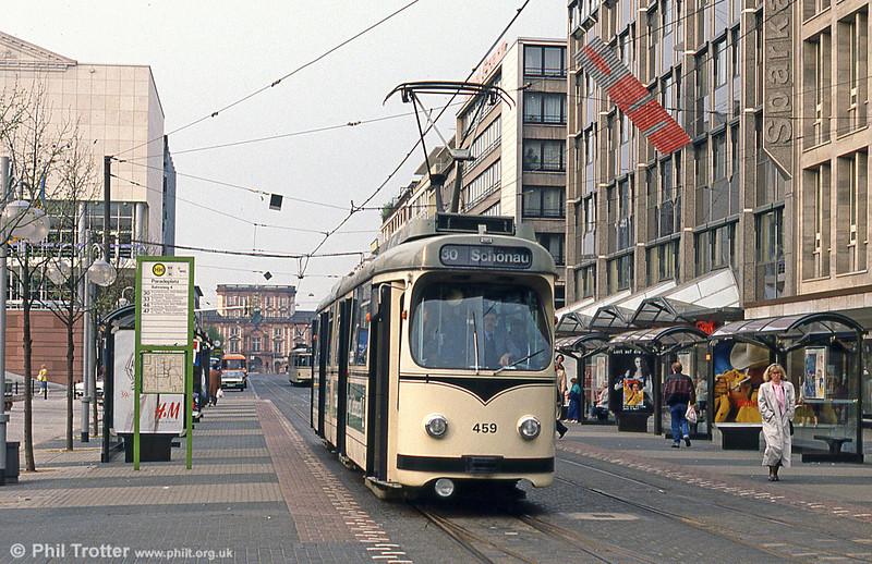 Mannheim 459 at Paradeplatz on 4th April 1991.