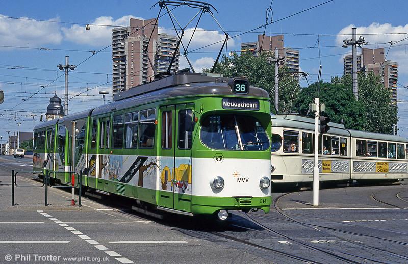 Mannheim 514 at Kurpfalzbrucke on 1st August 1993.
