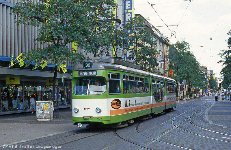Mannheim 509 at Paradeplatz on 1st August 1993.