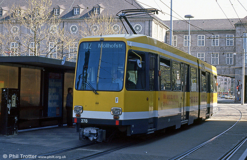Mulheim 278 at Rathausmarkt on 12th April 1991.