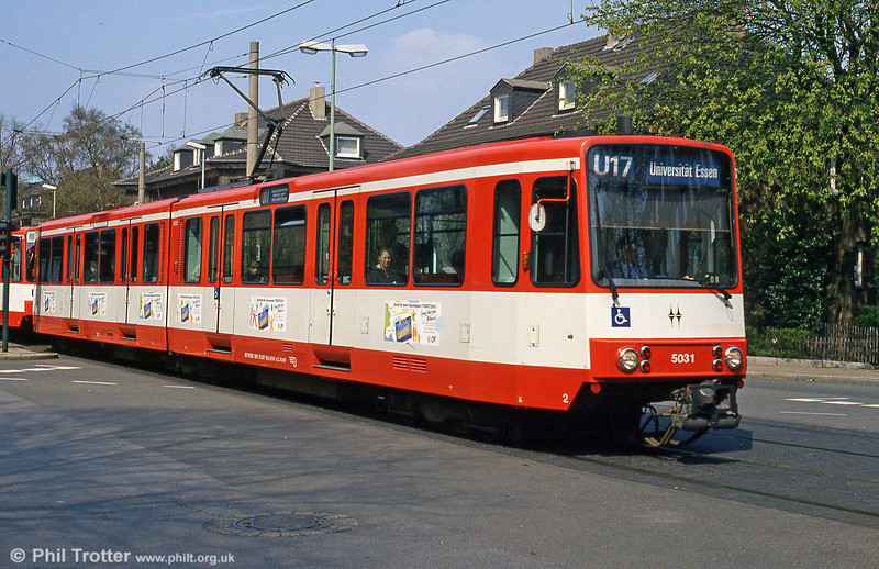 Mulheim Stadtbahn car 5031 at Margarethenhohe, Essen on 19th April 1994.