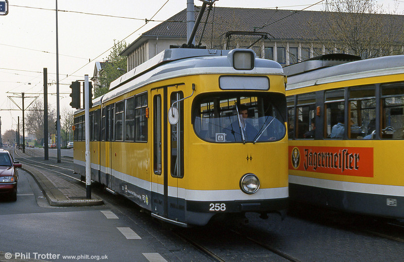 Mulheim 258 at Ruhrstrasse on 12th April 1991.