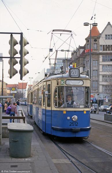 Munich Rathgeber car 2512 at the Hauptbahnhof on 20th April 1993.