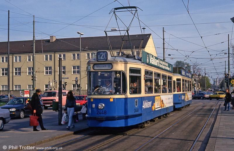 Munich Rathgeber car 2448 at Leonrodplatz on 20th April 1993.
