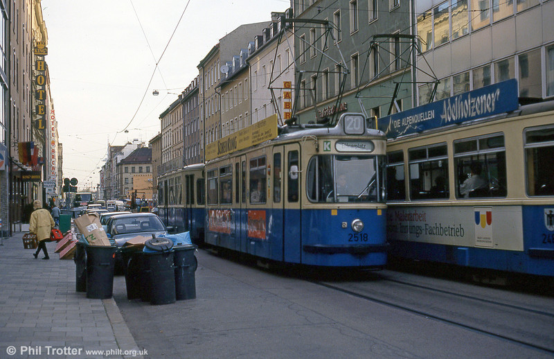 Munich Rathgeber car 2518 at the Hauptbahnhof on 20th April 1993.