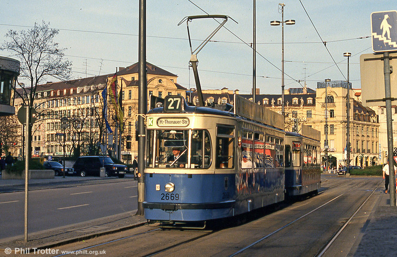 Munich Rathgeber car 2669 at Karlsplatz on 20th April 1993.