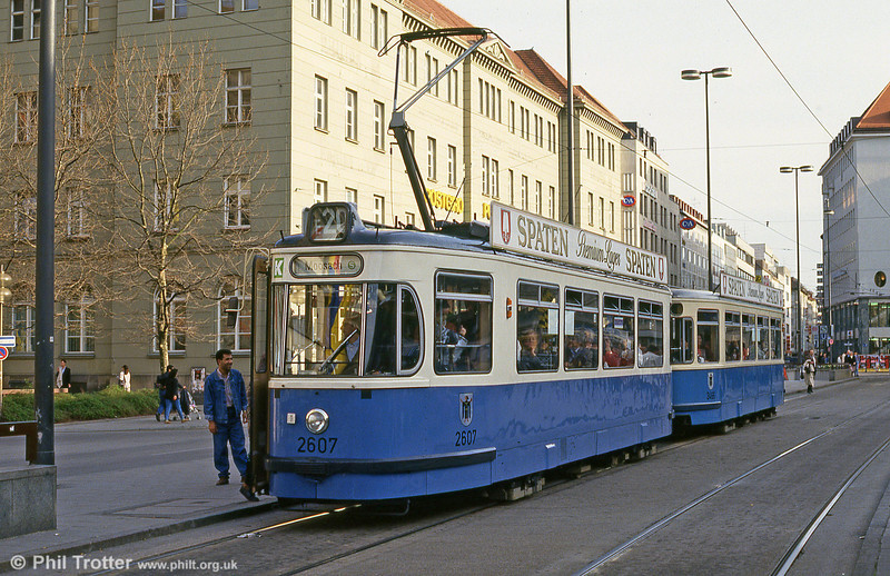 Munich Rathgeber car 2602 at the Hauptbahnhof on 20th April 1993.