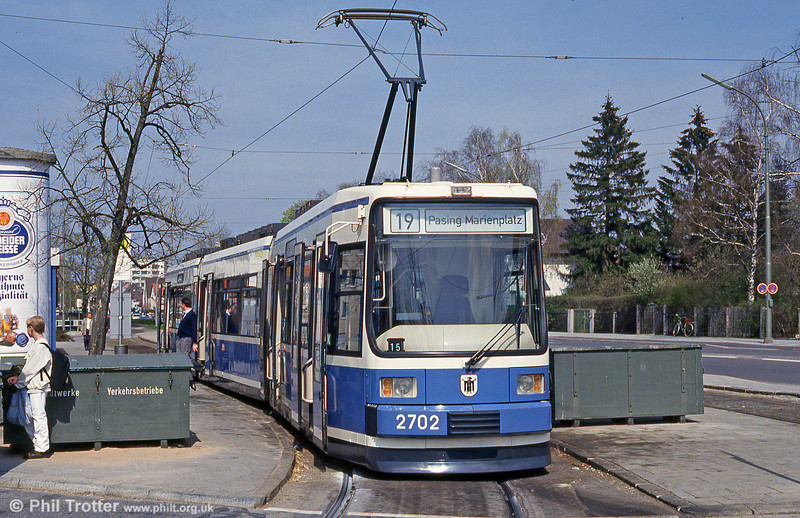 Munich MAN low-floor car 2702 at St. Veit Strasse on 20th April 1993. (First published in Light Rail & Modern Tramway, 9/93).