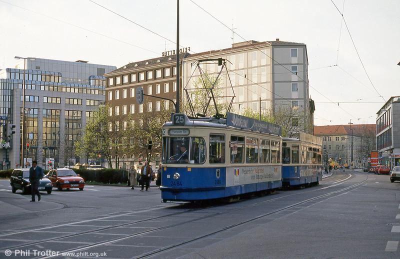 Munich Rathgeber car 2484 at the Hauptbahnhof on 20th April 1993.