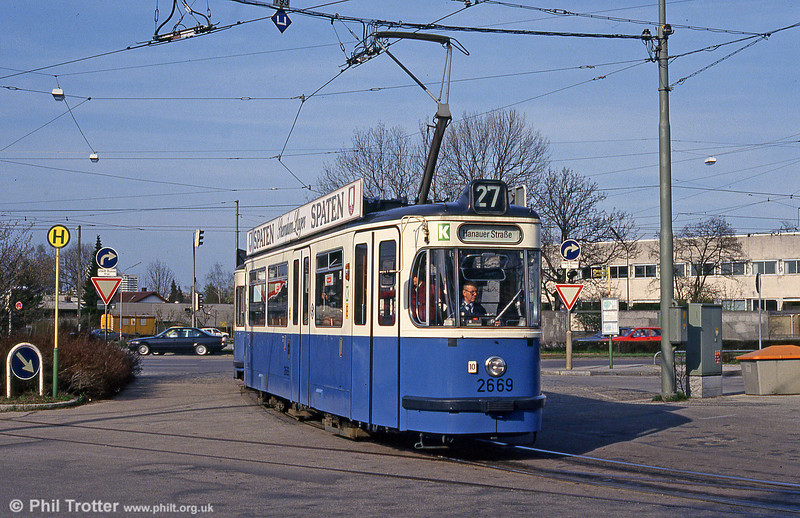 Munich Rathgeber car 2669 at Hanauer Strasse on 20th April 1993.