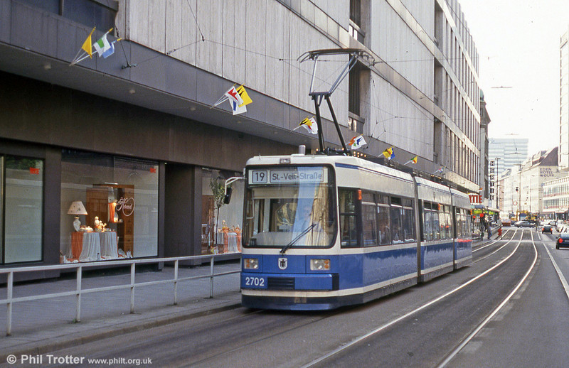 Munich MAN low-floor car 2702 near Karlsplatz on 20th April 1993.