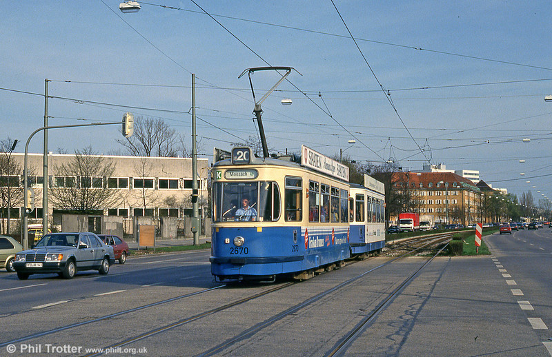 Munich Rathgeber car 2670 at Hanauer Strasse on 20th April 1993.