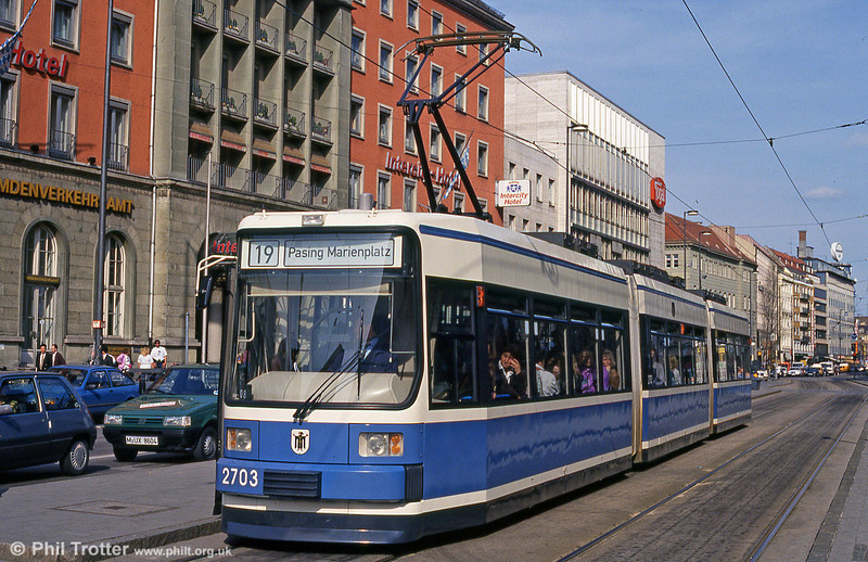 Munich MAN low-floor car 2703 at the Hauptbahnhof on 20th April 1993.