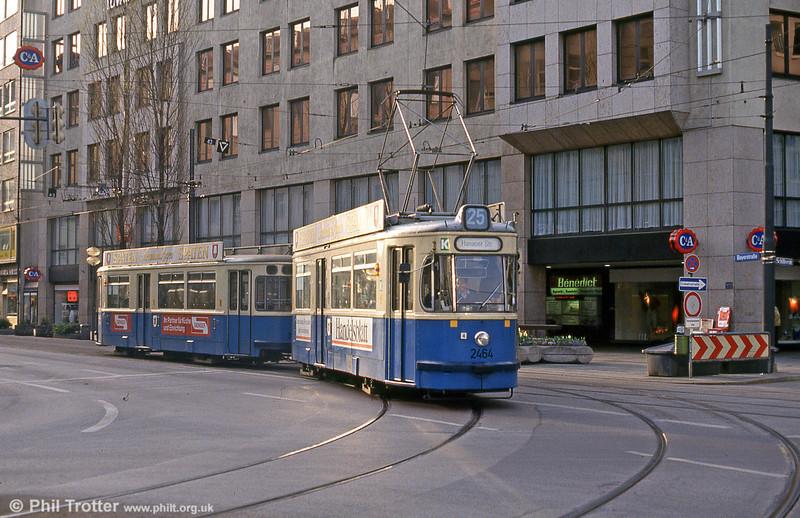 Munich Rathgeber car 2464 at the Hauptbahnhof on 20th April 1993.