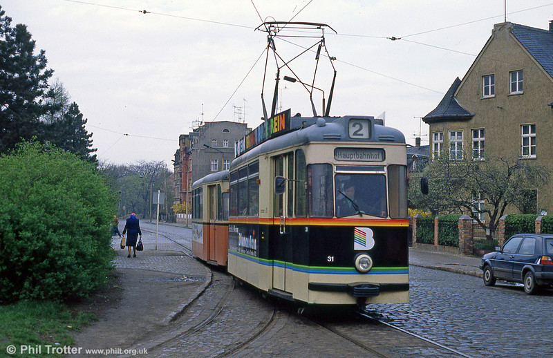 Naumburg car 31 at Poststrasse on 8th April 1991.